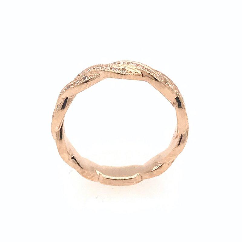 S. Kashi 18k Rose Gold Diamond Ribbon Wedding Band