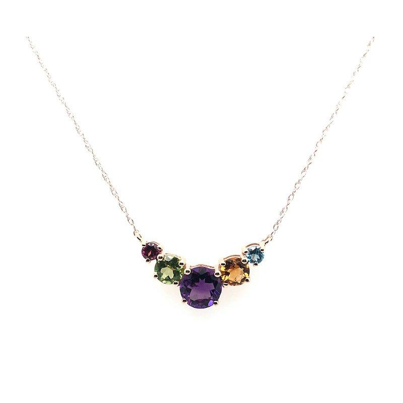 Quality Color Design 14k Multi Color Gemstone Necklace