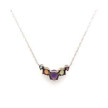 14k Multi Color Gemstone Necklace
