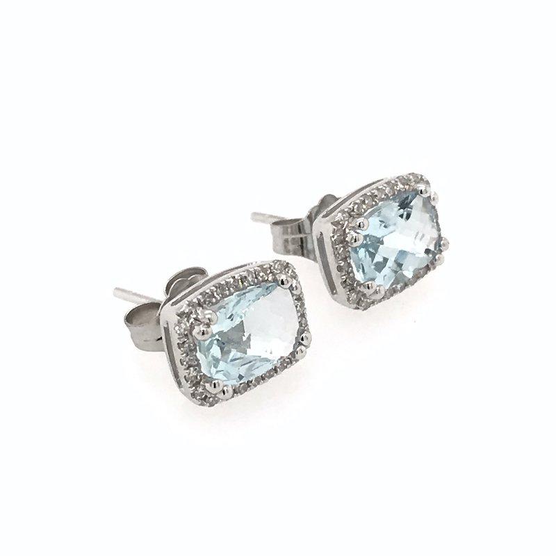 Quality Color Design Rectangular Aquamarine & Diamond Earrings