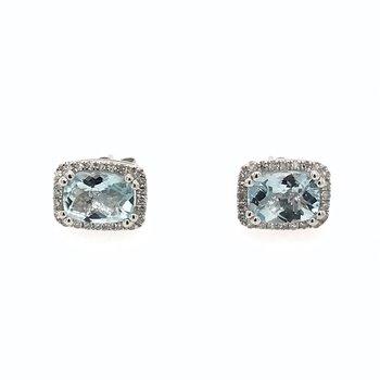 Rectangular Aquamarine & Diamond Earrings