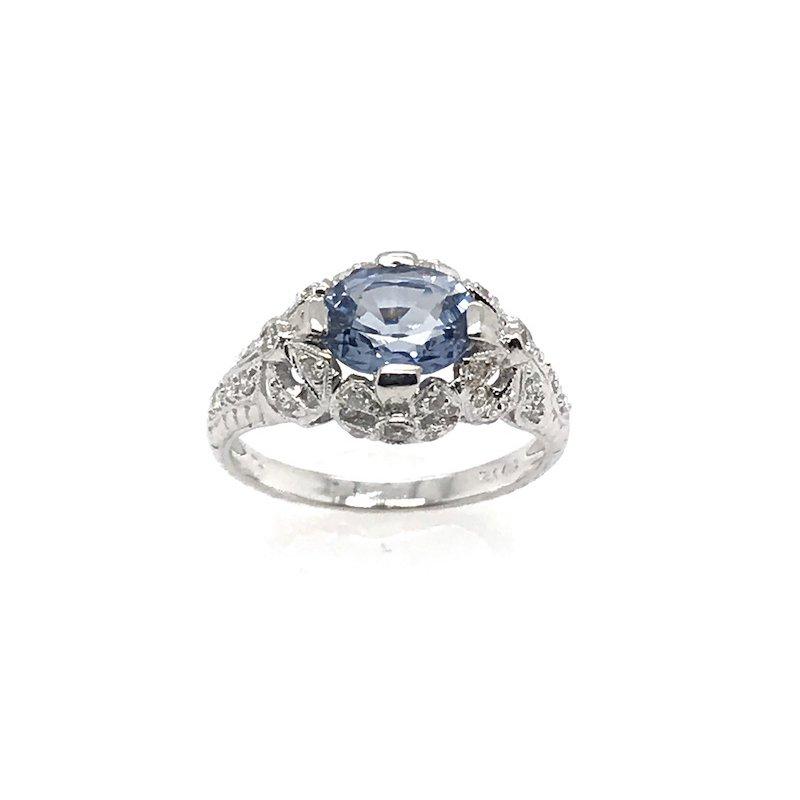 Adam K. Light Blue Sapphire & Diamond Ring