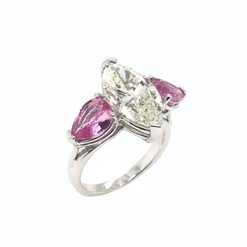 Marquise Diamond & Pink Sapphire Engagement Ring