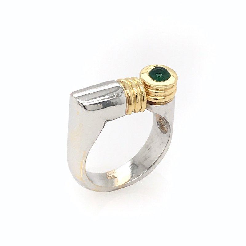 Adam K. 18k Two-Tone Emerald Ring