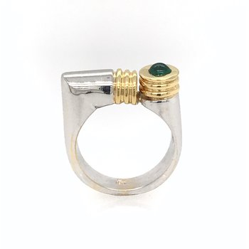 18k Two-Tone Emerald Ring