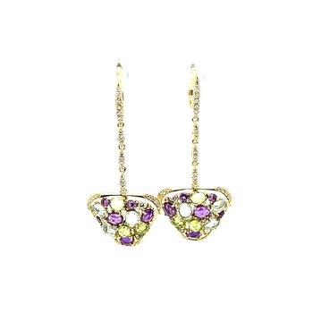 Multi-Color Stone & Diamond Earrings
