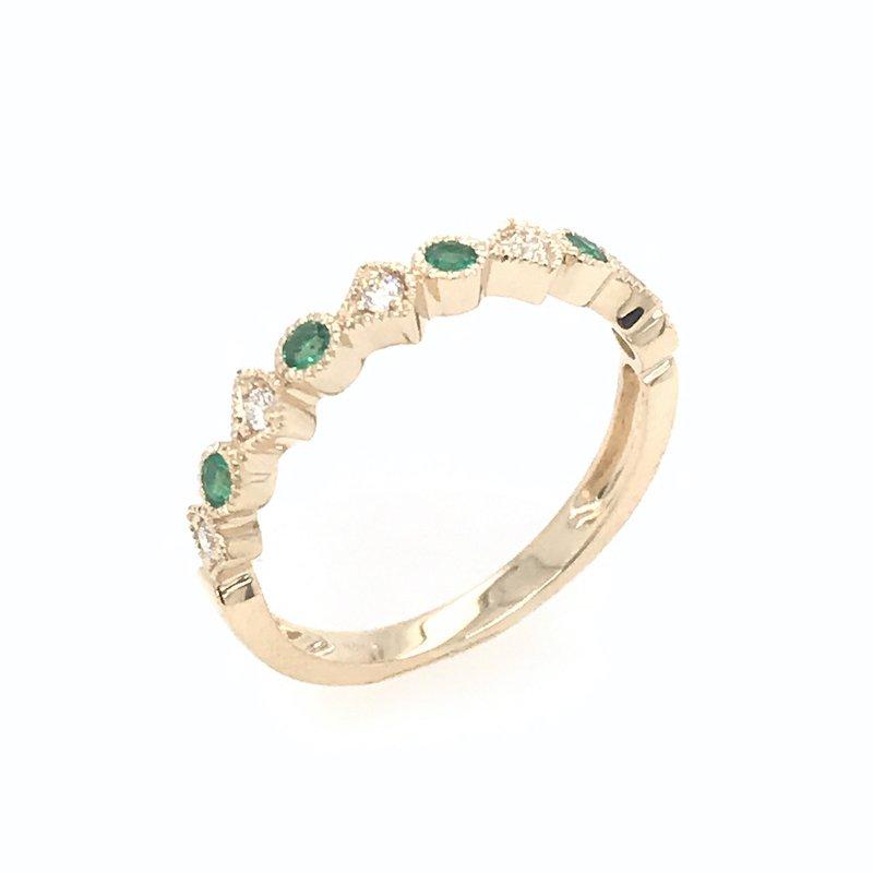 Asba Diamond & Emerald Wedding Band