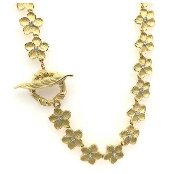 Diamond Pansy Flower Design Necklace
