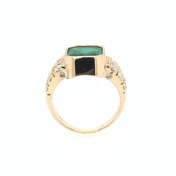 18k Certified Emerald and Diamond Ring