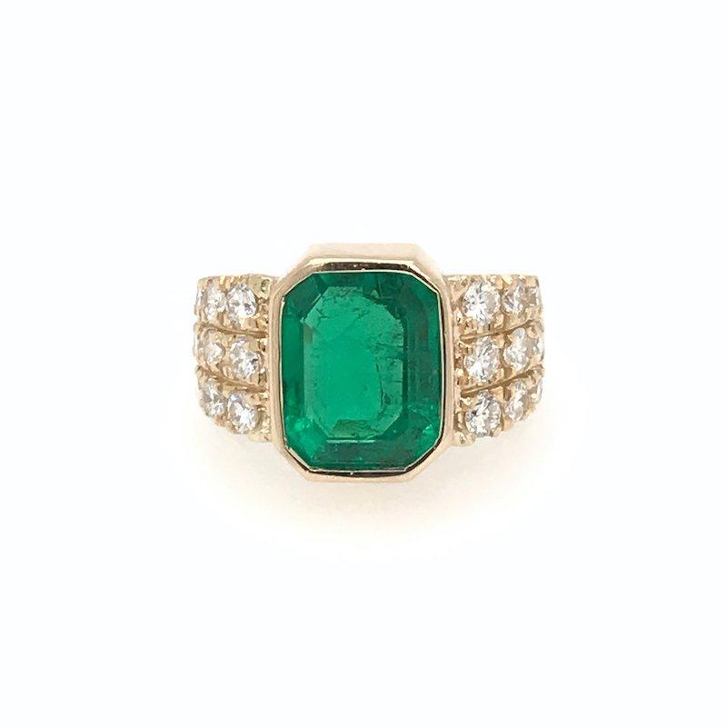 Adam K. 18k Certified Emerald and Diamond Ring