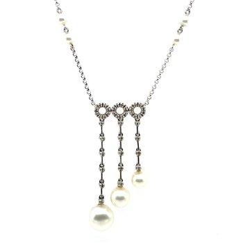 18k White Pearl & Diamond Necklace