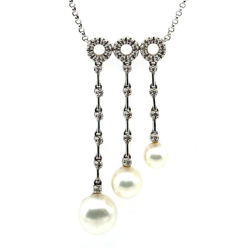 Adam K. 18k White Pearl & Diamond Necklace