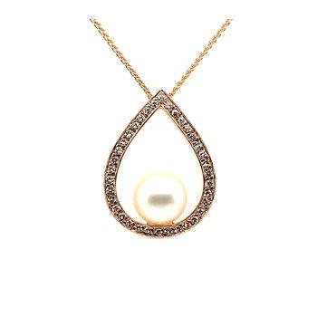 18k Pearl & Diamond Pendant Necklace