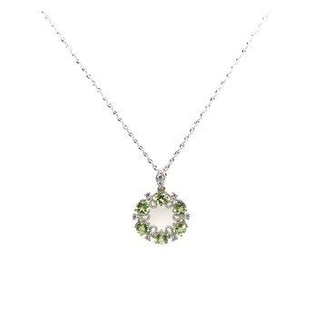 Peridot & Diamond Pendant Necklace