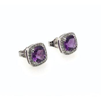 14k Amethyst & Diamond Earrings