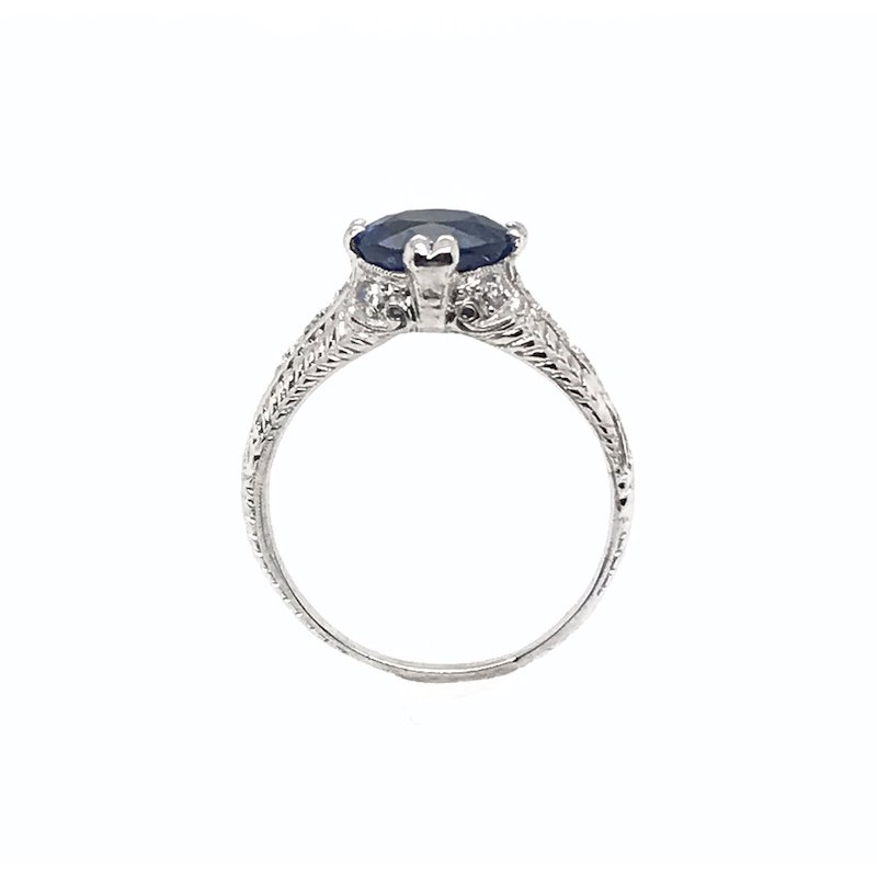 Adam K. Sapphire & Diamond Art Deco Ring