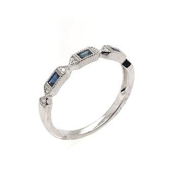 Diamond & Black Sapphire Wedding Band