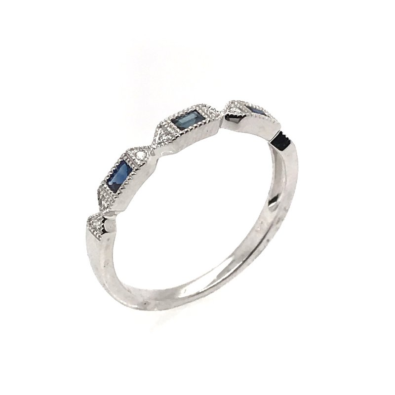 Asba Diamond & Black Sapphire Wedding Band