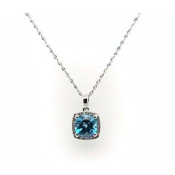 Blue Topaz & Diamond Pendant Necklace