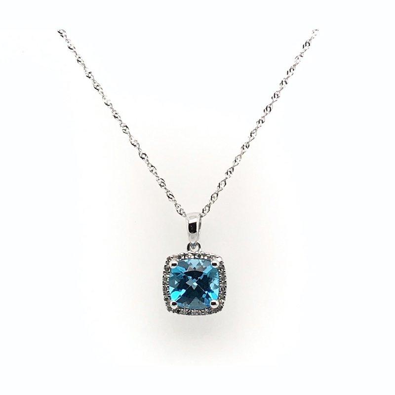 Quality Color Design Blue Topaz & Diamond Pendant Necklace