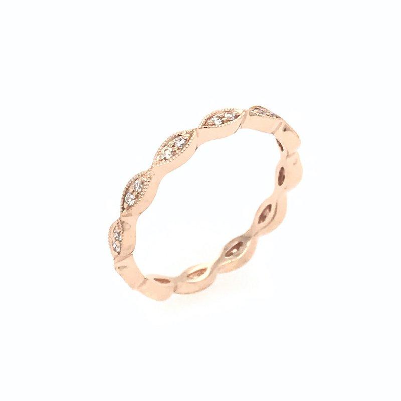 Asba 18k Rose Gold Curved Diamond Wedding Band