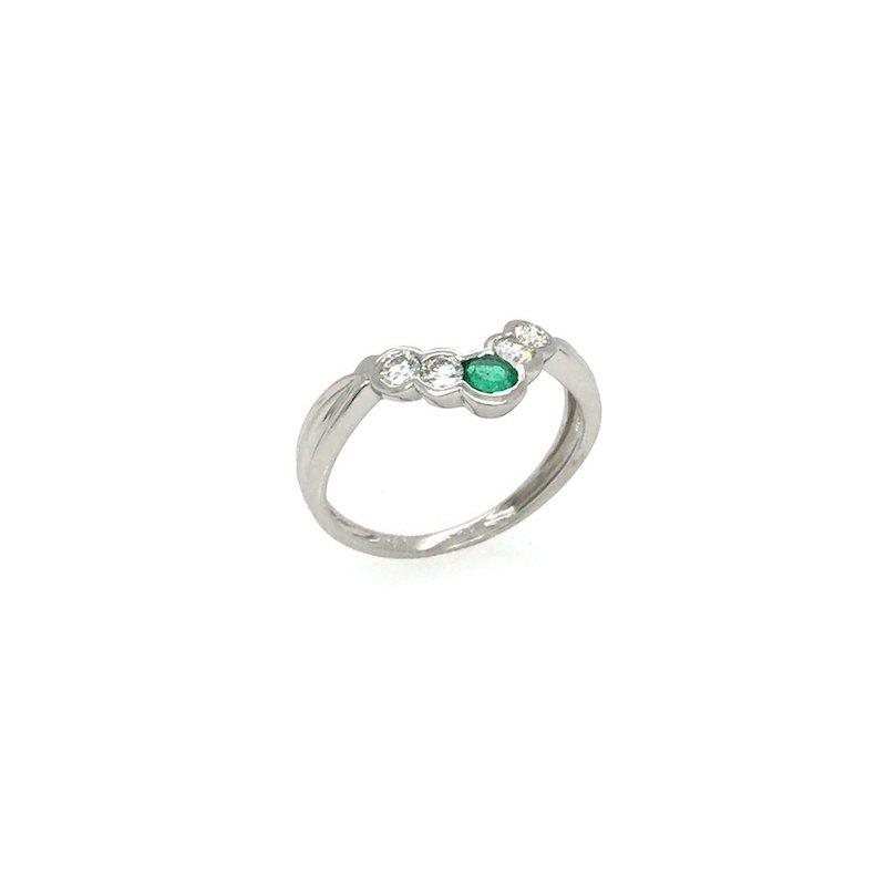 Adam K. Platinum Emerald & Diamond Ring