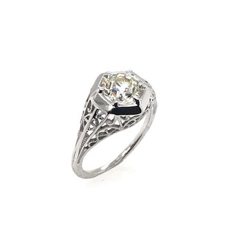 Platinum Art Deco Diamond Filigree Engagement Ring