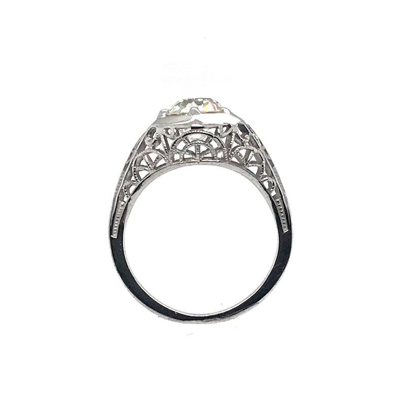 Adam K. Platinum Art Deco Diamond Filigree Engagement Ring