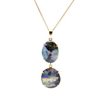 14k Multi-Color Oval Opal Pendant W/ Chain