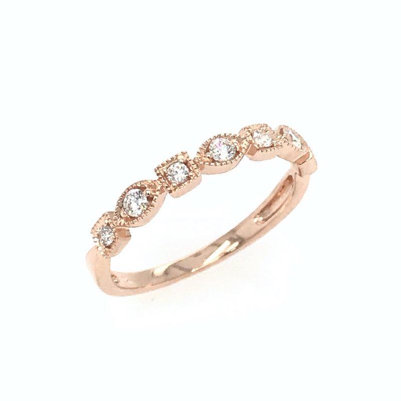 Asba 14k Rose Gold Diamond Wedding Band