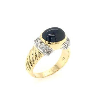 Oval Cabochon Sapphire & Diamond Ring