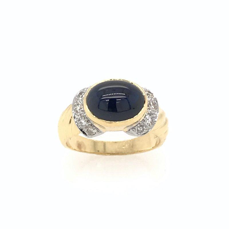 Adam K. Oval Cabochon Sapphire & Diamond Ring