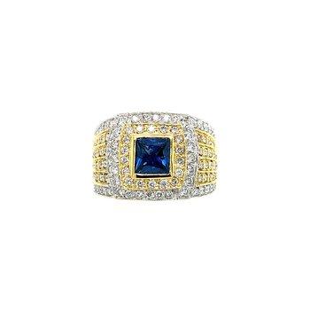 18k Two-Tone Diamond & Sapphire Ring