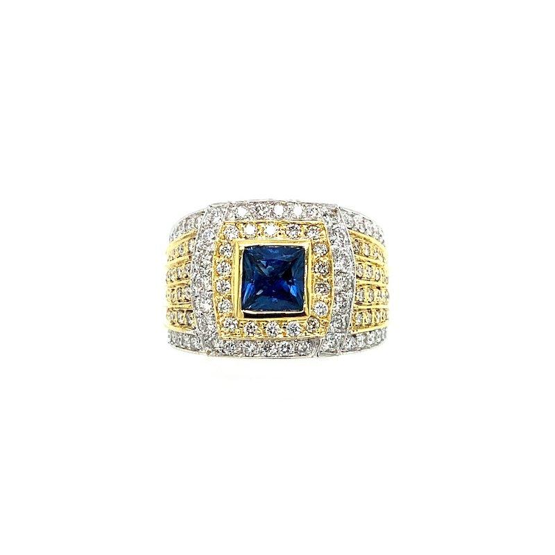 Adam K. 18k Two-Tone Diamond & Sapphire Ring