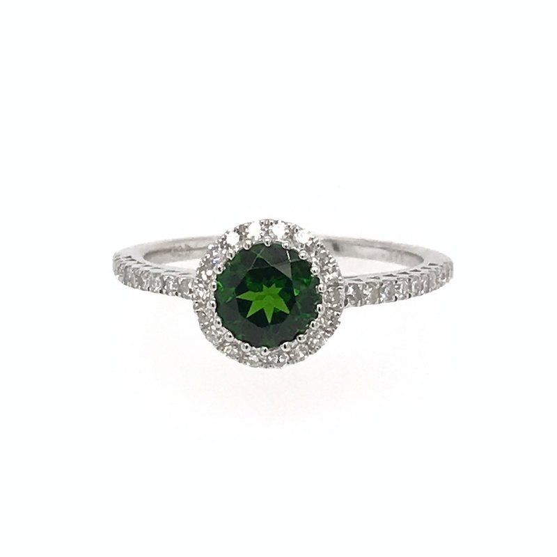 Quality Color Design Chrome Diopside & Diamond Ring