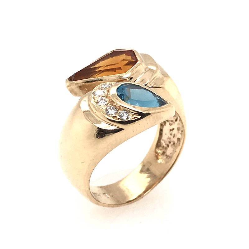 Adam K. Citrine & Blue Topaz Diamond Ring