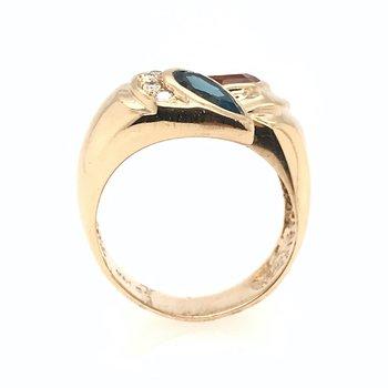Citrine & Blue Topaz Diamond Ring