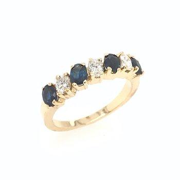 18k Diamond and Sapphire Wedding Band