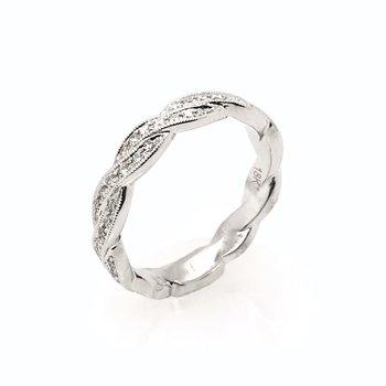 18k Diamond Ribbon Wedding Band