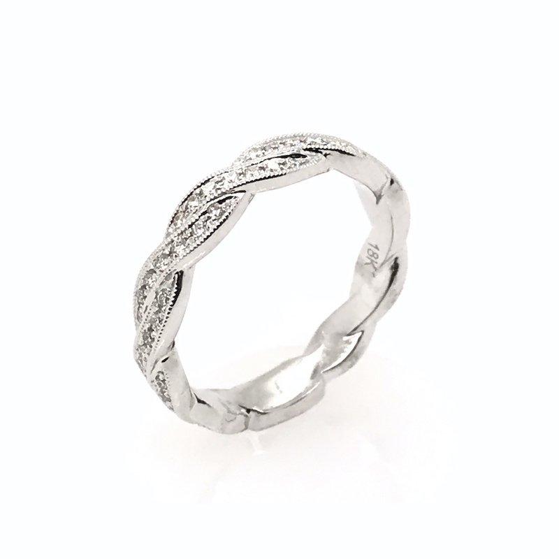 S. Kashi 18k Diamond Ribbon Wedding Band