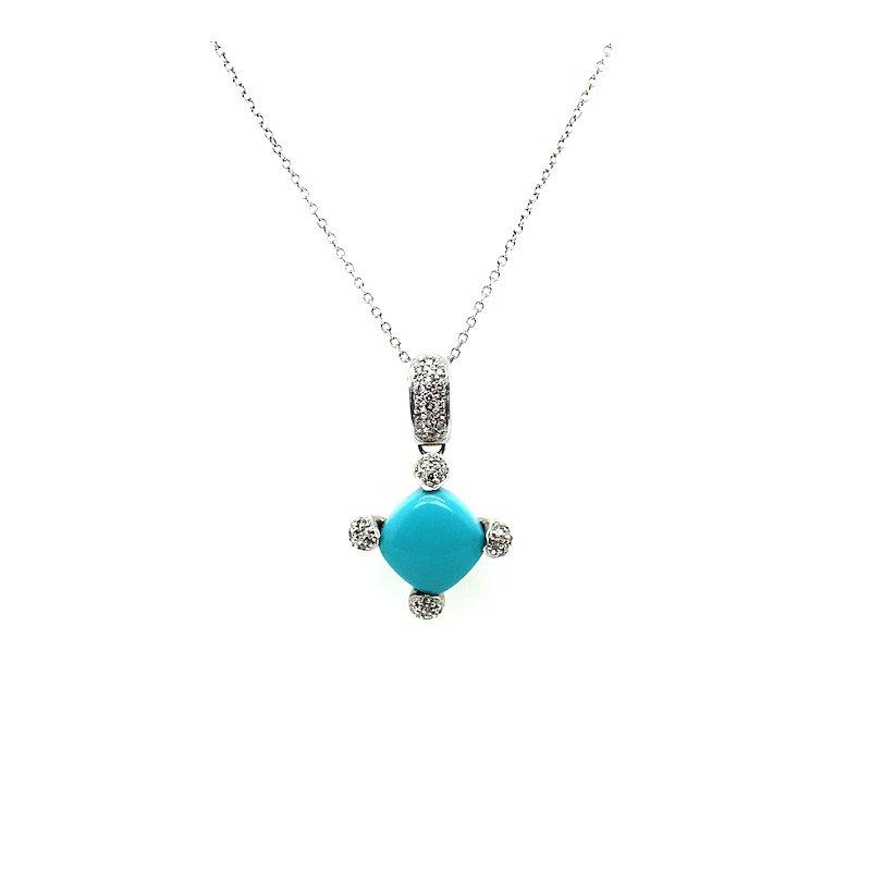 Adam K. 14k Turquoise & Diamond Pendant W/ Chain