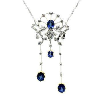 18k Sapphire & Diamond Necklace