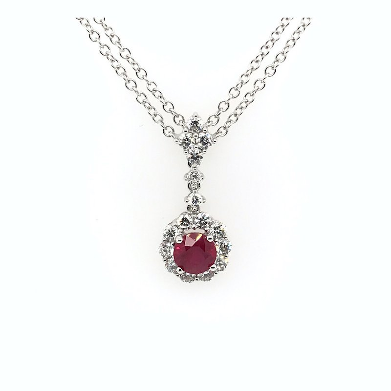Quality Color Design Ruby & Diamond Pendant Necklace