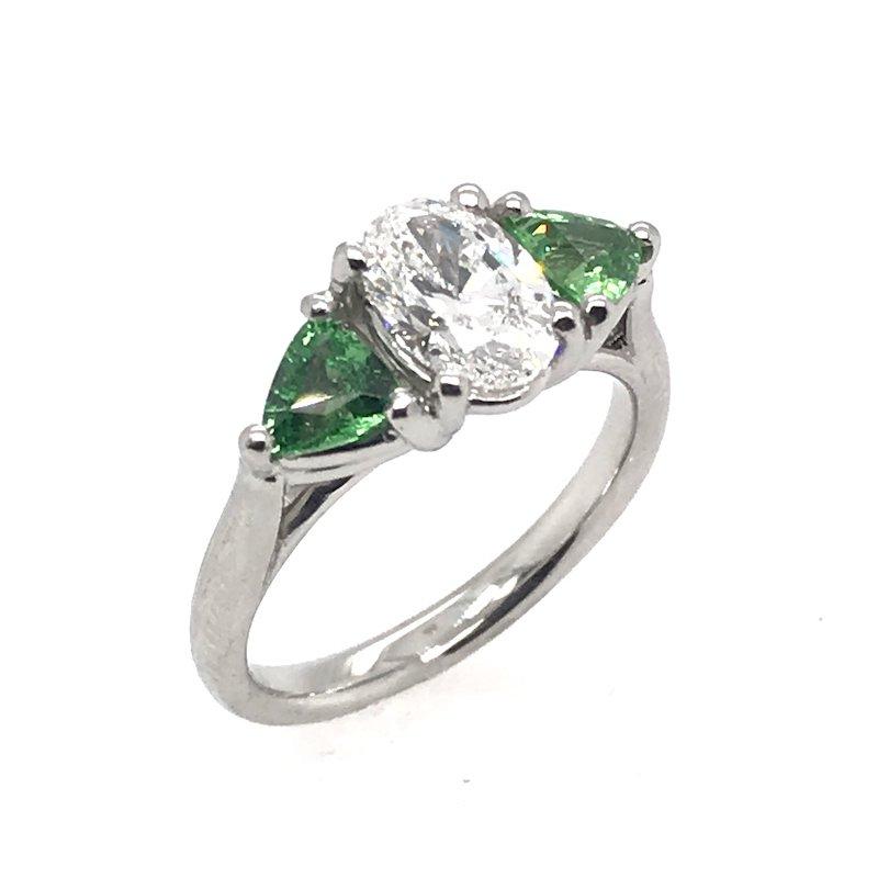Stuller Diamond & Tsavorite Platinum Engagement Ring