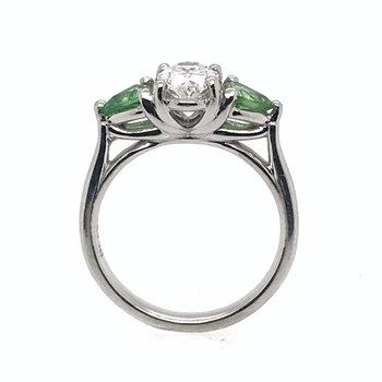 Diamond & Tsavorite Platinum Engagement Ring