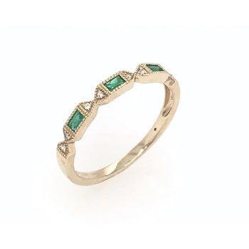 Diamnd & Emerald Wedding Band