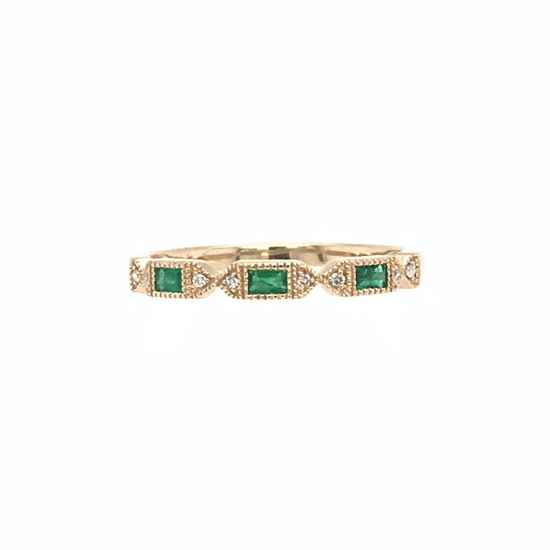 Asba Diamnd & Emerald Wedding Band