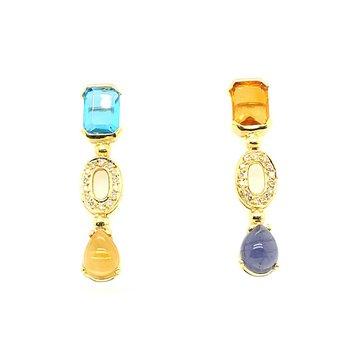 Multi-Color Stones & Diamond Earrings
