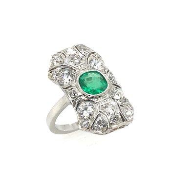 Platinum Art Deco Emerald & Diamond Ring