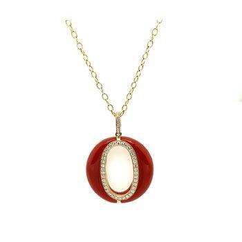 Carnelian & Diamond Pendant W/ Chain